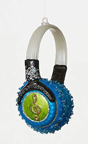 Neon Earbud Headphones - On Holiday Glass Neon Blue Headphone Christmas Tree Ornament