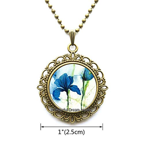 Waozshangu Blue Iris Flower Pendant Necklace Handmade Blue Iris Jewelry Classic Round Purple Irises Necklace,PU209 (Brass) ()
