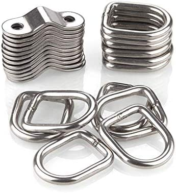 4 Packs D-Ring Tie Downs 1//4 Heavy Duty Tie Down Anchor Lashing Ring with Mounting Bracket for Loads on Trailers Trucks RV Campers Boats Motorcycles