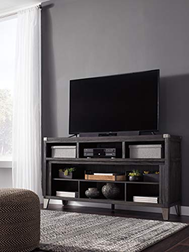 Signature Design by Ashley Todoe Large TV Stand with Fireplace Option Gray
