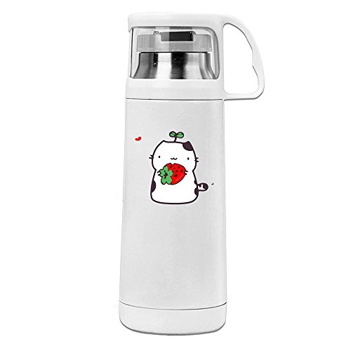 Handson Stainless Steel Vacuum Insulated Tumbler Cute Cat And Strawberry Thermal Thermos Cup White 14oz/350ml by Handson - Style New Gomez Selena