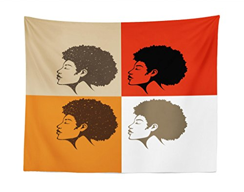 Lunarable Afro Tapestry, African American Natural Hairline Pop Art Style Ethnicity Woman Silhouette Portrait, Fabric Wall Hanging Decor for Bedroom Living Room Dorm, 28 W X 23 L Inches, Multicolor