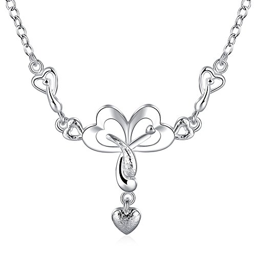 iCAREu Sliver Plated Hearts Pendant Necklace for - Mall Best Shopping Nyc