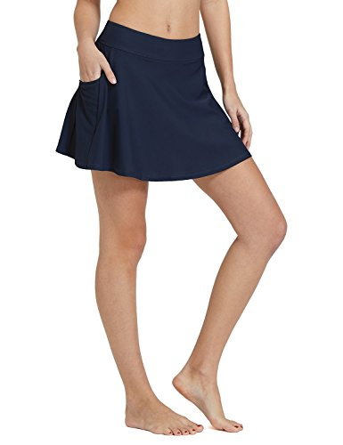 (Baleaf Women's High Waisted Swim Skirt Bikini Tankini Bottom with Side Pocket Navy Size XXL)
