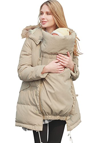 Sweet Mommy Maternity and Mother's Down Coat with baby wearing pouch LightKhaki, LL