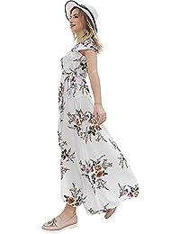 Godeyes Womens Pendulum Chiffon V-Neck Big High Waisted Floral Maxi Dress