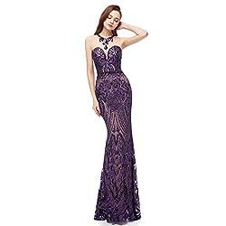 Purple Long Sequin Mermaid Dress Sleeveless