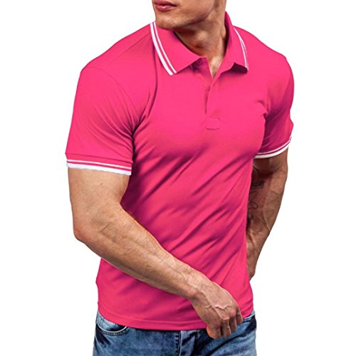 Price comparison product image Forthery Men Shirts,  Summer Tops Men Casual Slim Fit Short Sleeve Henley T-Shirt (US S = Asia M,  Pink)