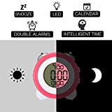Jeteven Digital Twin Bell Alarm Clock Bedside Travel Clock with Temperature Display, Snooze Function LED Night Light Battery Operated for Heavy Sleepers Rose Red