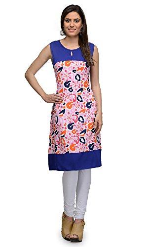 Indi Dori Polyester Multi Printed Blue Yoke Sleeveless Kurti – Multi XX-Large