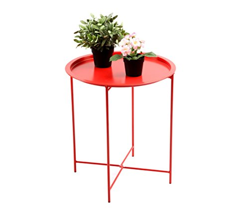 Round Red Coffee Table: Finnhomy Portable Metal Folding Tray Side Table, Small