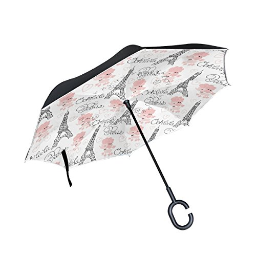 THENAHOME Reverse Inverted Auto Open Umbrella Compact Lightweight Straight Umbrellas with Paris Eiffel Tower and Poodle for Car & Outdoor