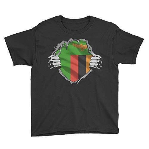 Marrola Kids Zambian Superhero Under Shirt Zambia Flag Youth T-Shirt (XS, Black)