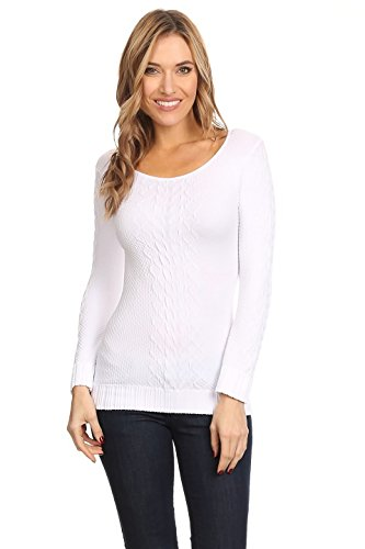 Boatneck Nylon Sweater (Itzon Solid Long Sleeve Boat Neck Cable Knit Sweater (One Size, Ivory))