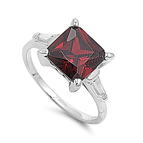Wedding Engagement Ring Princess Cut Square Simulated Deep Red Garnet Baguette CZ 925 Sterling Silver ()