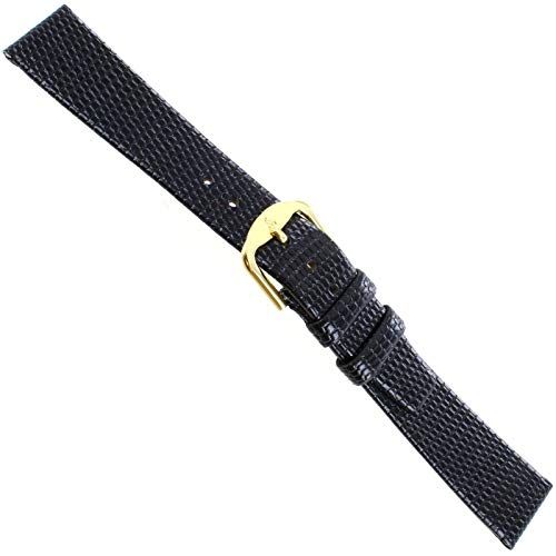 17mm Stuller Black Genuine Leather Lizard Grain Unstitched Mens Watch Band from Milano Watchbands