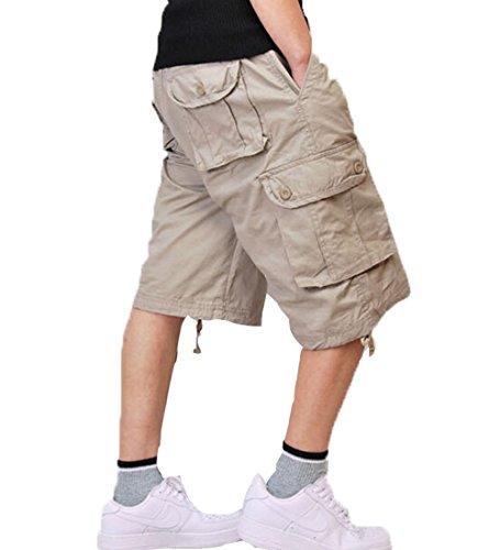 Congs Men's Casual Cotton Multi-Pocket Work Cargo Shorts-beige-42