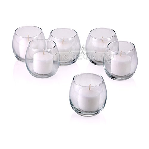 PARNOO Votive Candle Holders Bulk Set of 24 - Glass Votive Tealight Holders - Perfect for Wedding Centerpices, Home Decor (Hurricane Clear) by PARNOO (Image #1)