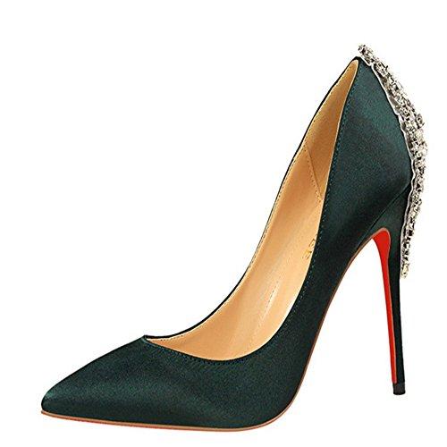 Manyis Femmes Nouvelles Talons Hauts Talons Satin Supérieure Bling Cristal Chaussures Bout Pointu Pompes Vertes 5