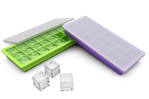 Avvio Silicone Ice Cube Trays With Lids Set Of 2 Covered
