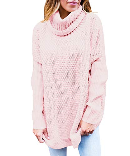 Womens Turtleneck Sweaters Oversized Long Sleeve Chunky Knit Tunic Plain Pullover Jumper Tops Pink