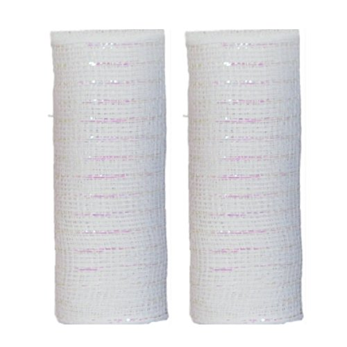 Decorative Mesh Rolls for Crafting Wreaths Centerpieces Displays Table Drape and More 5 Yards 2 Rolls White