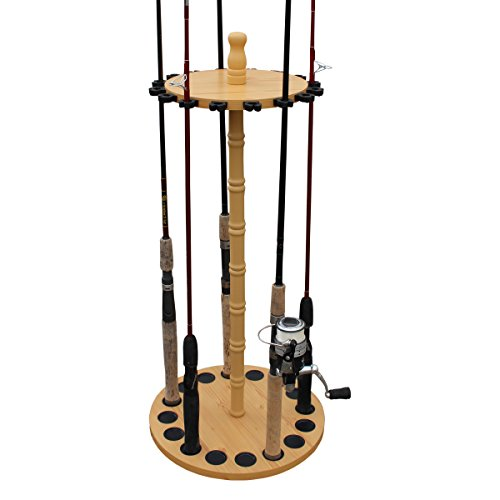 Fishing Pole Storage Racks - Rush Creek Creations Round 16 Fishing Rod Storage Rack - Features Traditional Handcrafted Wood Post - No Tool Assembly