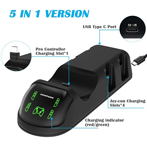 Controller Charger for Nintendo Switch/PS5, Upgraded 5-in-1 Remote Charging Dock Stand Station Compatible with Switch Joy-con & Pro Controller with LED Charging Indicator Light and 2.6FT Type C Cable