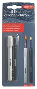 Derwent - Pack de 2 alargadores de lápices, color blanco y negro
