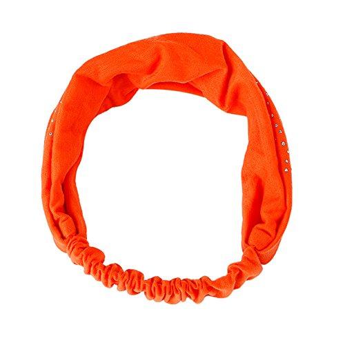 Headbands,Head Wrap Diamond Hair Accessories Turban Twist Hair Bands (Orange)