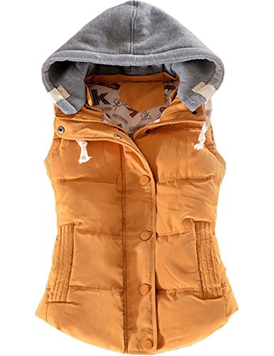 Padded Gilet EMMA Autumn Outwear Yellow Casual Removable Women's Sleeveless Bodywarmer Coat Jacket Hood Vest Warm Button Winter Down Quilted nvXZnY