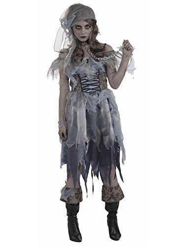 Pirate Wench Zombie Ghost Caribbean Girl Fancy Dress Halloween Adult Costume, Black/Gray, One Size -