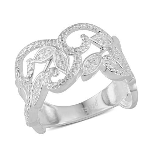 - Round Diamond Leaf Statement Ring 925 Sterling Silver Gift Jewelry for Women Size 7