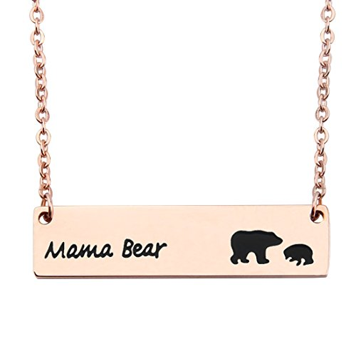 Pendant 1 Mama (WUSUANED Rose Gold Sweet Mama and 1 Cub Bear Bar Necklace Gift for Mom Grandma Wife (1 cub rose gold))