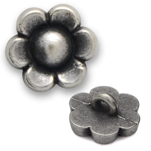 Buttons Metal Flower (Metal Flower Button with Shank 1/2'' Silver by 4pcs, SAN-2384Z)