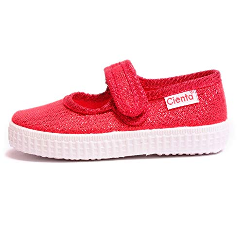 (Cienta Girls Mary Jane Canvas Sneakers – Gold Metallic Casual Shoes with Adjustable Strap (Toddler/Little Kid/Big Kid) (30 M EU / 12 M US Little Kid, Red))