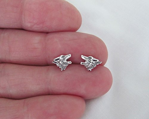 r 6mm Wolf head Hypo-Allergenic Post stud earrings. (Sterling Silver Wolf Head Charm)