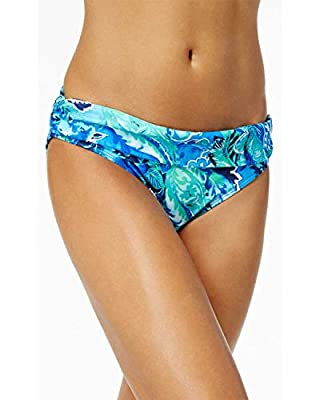 Ralph Lauren Womens Exotic Paisley Shirred Banded Hipster Bikini Bottom 16 Blue