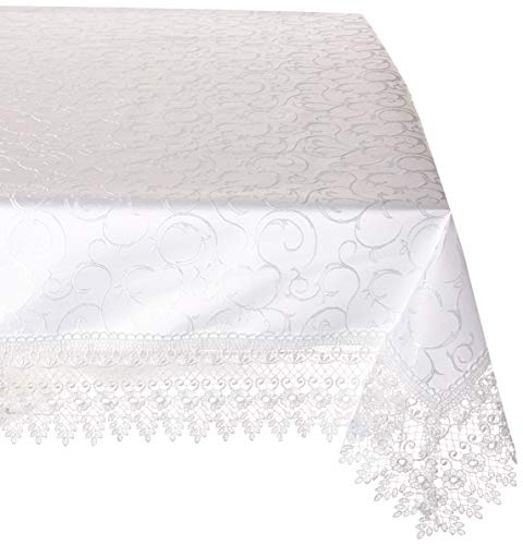 HomeCrate Flower Bow Vintage Lace Design tablecloths, 70