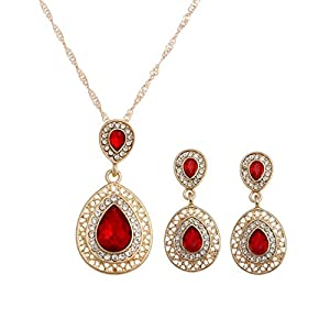 TOPUNDER Crystal Necklace Earrings Wedding Sets for Women's Bohemian Jewelry Set