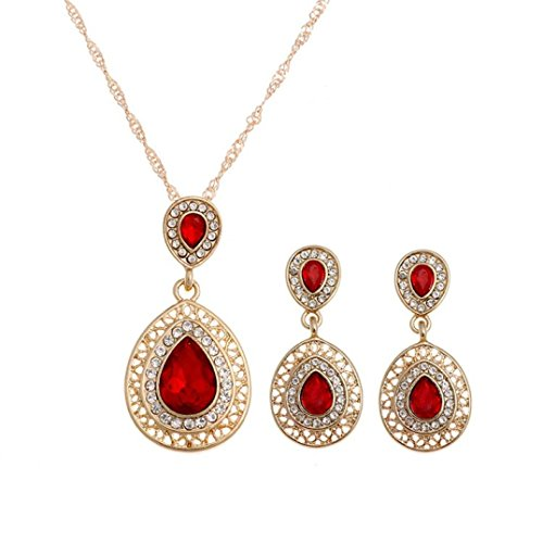 TOPUNDER Crystal Necklace Earrings Wedding sets For Women's Bohemian Jewelry set (Red)