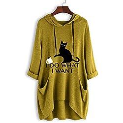 Sudadera de algodón con capucha para mujer, manga larga, con bolsillo para orejas de gato, talla grande, suelta, con estampado de gato, playera para adolescente, XXXXL, Amarillo