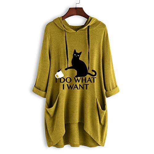 (TANLANG Women Casual Print Cat Ear Hooded Long Sleeves Pocket Irregular Top Blouse Shirt Hoodie Coat Casual Tunic Yellow)