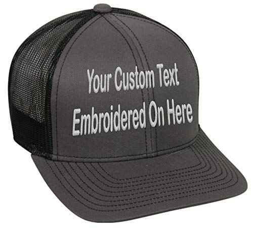 Custom Trucker Mesh Back Hat Embroidered Your Own Text Curved Bill Outdoorcap (Charcoal/Black)