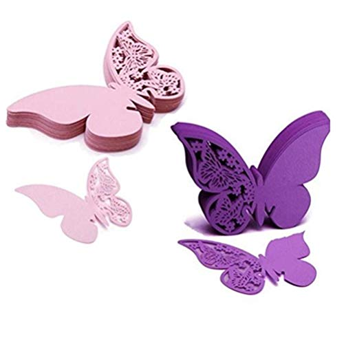 Eshylala 100 Pcs Butterfly Wine Glass Cards Laser Cut Name Place Cards Wine Cup Decoration Postcards Wedding Centerpieces Table Decoration (Pink&Purple) ()