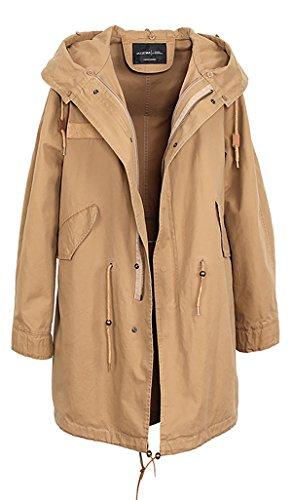 Forro mujer Caqui pelaje extraíble de abrigo con extraíble invierno S de Amarillo amp; Cuello capucha de mapache de ROMZA Blanco conejo piel amp; 5qBwx8Y