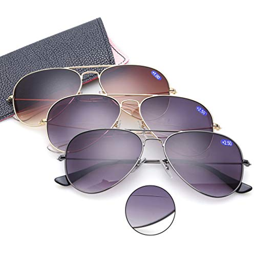 3 Pack Bifocal Sunglasses With Readers Gradient Lens UV400 Reading Glasses (3 Color, ()