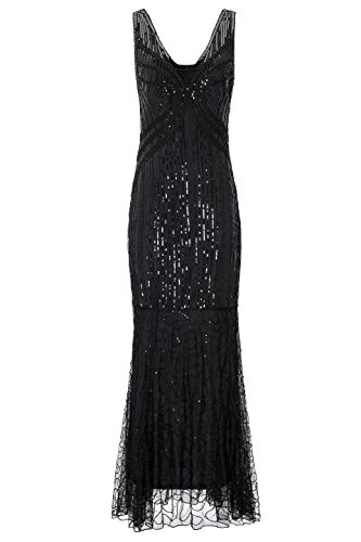 Homecoming Horror Costumes (Metme Women's Roaring 1920s Gatsby Sleeveless Sequined Beaded Long Flapper Dress Prom)