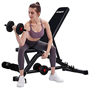 ECHANFIT Weight Bench Adjustable Strength Training Bench for Full Body Workout and Incline Decline Exercise Fitness with Wider Backrest, Black