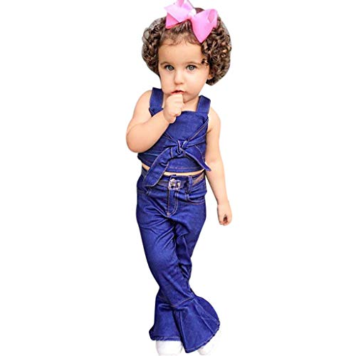 Toddler Kids Baby Girls Outfits Clothes Set Bowknot Denim Sling Tee + Denim Flare Pants Two-Piece Suit 1T-6T
